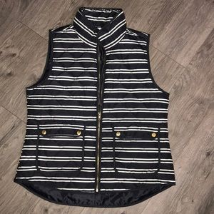 Black and Cream Polyester Zip Up Vest